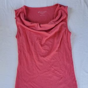 Philosophy Pink Cowl Neck Tank Top Size S